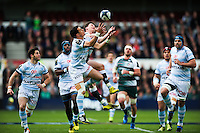 Dan Carter of Racing 92 competes with Freddie Burns of Leicester Tigers for the ball in the air. European Rugby Champions Cup semi final, between Leicester Tigers and Racing 92 on April 24, 2016 at The City Ground in Nottingham, England. Photo by: Patrick Khachfe / JMP