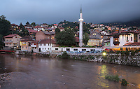 The Hadzijska Mosque or Vekil Harc Mosque, built 1541-61, on the banks of the Miljacka river, Sarajevo, Bosnia and Herzegovina. The city was founded by the Ottomans in 1461. Picture by Manuel Cohen