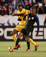 Chattanooga, TN - February 3, 2017: The U.S. Men's National team and Jamaica are even 0-0 in second half action during an international friendly match at Finley Stadium.