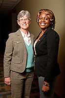 McNair Scholar,  Jelisia Dixon, right with faculty mentor Debra Allyn <br /> Health &amp; Human Performance<br /> College of Education &amp; Professional Studies.