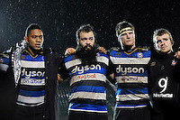 Levi Douglas, Kane Palma-Newport, Pat Jenkinson and Jonathan Evans of Bath United look on in a post-match huddle. Aviva A-League match, between Bath United and Bristol United on December 28, 2015 at the Recreation Ground in Bath, England. Photo by: Patrick Khachfe / Onside Images