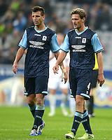 Fussball 2. Bundesliga:  Saison   2012/2013,    10. Spieltag  TSV 1860 Muenchen - FC Erzgebirge Aue  22.10.2012 Guillermo Vallori und Kai Buelow  (v. li., 1860 Muenchen)