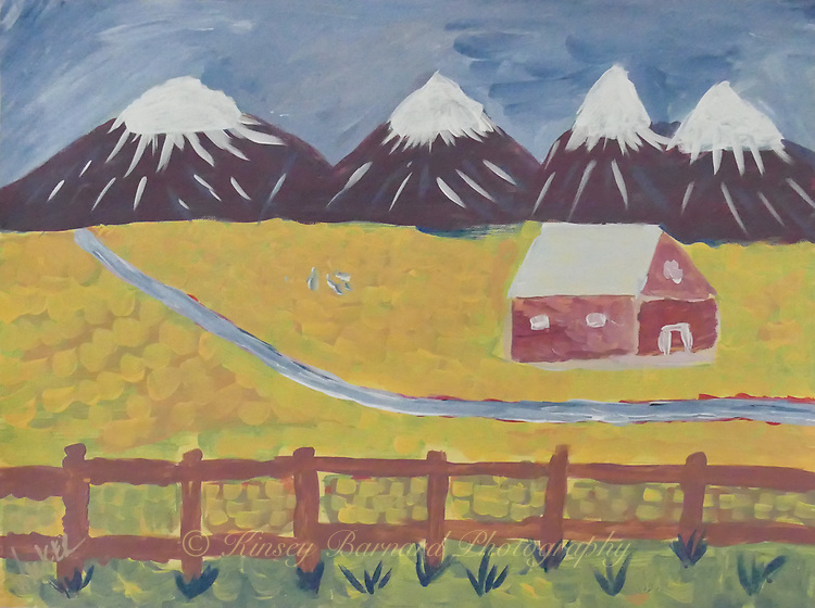 """""""MY MONTANA"""" as viewed from my primitive and childlike form of impressionistic imagination. Snow capped mountains. A red barn sitting in a wheat field with a stream running through it."""
