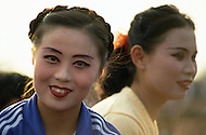Beijing, China. October 1st, 1984.  Celebration of the 35th Anniversary of the Chinesse Revolution. Huge parade of minorities and Chinesse artists. Large representation of the popular Chinesse Opera.
