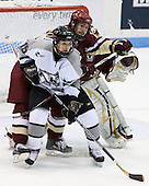 John Muse (BC 1), Benn Ferriero (BC 21), Kyle MacKinnon (Providence 15) - The Boston College Eagles and Providence Friars played to a 2-2 tie on Saturday, March 1, 2008 at Schneider Arena in Providence, Rhode Island.