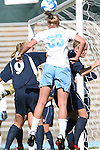 24 November 2007: North Carolina's Allie Long (33) heads a shot. The University of Notre Dame Fighting Irish defeated University of North Carolina Tar Heels 3-2 at Fetzer Field in Chapel Hill, North Carolina in a Third Round NCAA Division I Womens Soccer Tournament game.