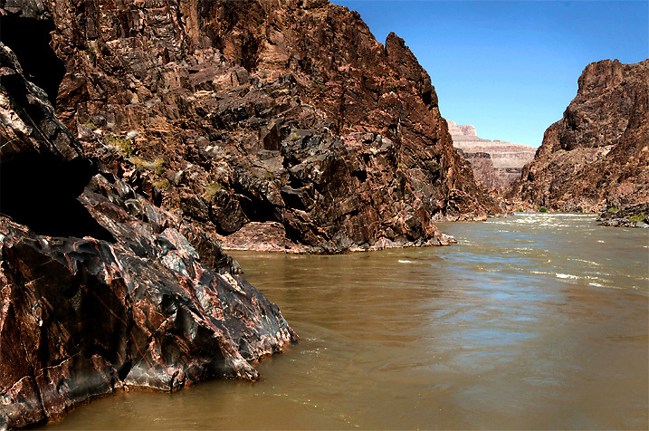 The Lower Granite Gorge is made up of schist and granite cliffs rising out of the Colorado River. Don't expect to camp around here!