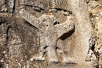 Picture of Yazilikaya [ i.e written riock ], Hattusa  The largest known Hittite sanctuary. 13th century BC made in the reign of Tudhaliya 1V . 12