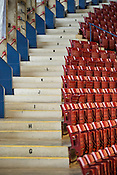 Staircase with alphabetized rows in Dorton Arena in Raleigh, North Carolina on Tuesday, November 25, 2014. (Justin Cook)