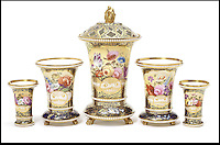 BNPS.co.uk (01202) 558833<br /> Picture: Bonhams<br /> <br /> Five Spode beaded vases service 1817, est &pound;4,000<br /> <br /> It is the ultimate garden sale -- The aristocrat Cunliffe-Copeland family are auctioning off millions of pounds of antiques in a unique sale of the entire contents of their stately home Trelissick House near Truro in Cornwall. For generations the family have filled the magnificent The 18th century manor with treasures acquired from travels around the globe.<br /> <br /> 58 years ago the house was left to the National Trust on the condition members of the family could carry on living in the property. But the current incumbent, William Copeland and wife Jennifer, have decided to buy a normal-sized family home and are unable to take the hundreds of heirlooms with them. So they are holding a two-day sale of ancient ornaments, paintings, furniture, jewellery, silverware, books, rugs and wine in the grounds of Trelissick House, near Truro, later this month, and hope to raise &pound;3million