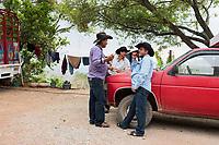 Felix and his friends. Felix Garcia a Maestro Mezcalero at his ranch and distillery in El Potrero, Oaxaca, Oaxaca, Mexico