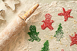 Cookie cut outs sprinked with red and green sprinkles