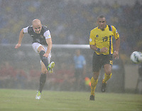 Antigua and Barbuda, Friday, Oct 12, 2012: The USA Men's National Team 2-1 over Antigua and Barbuda in the first round of qualifying for the 2014 World Cup. Michael Bradley takes a shot on goal.