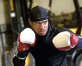 Boxer Rock Allen 21 of Philadelphia, Pa., worksout on Thursday May 31, 2004 at the Sovereign Bank Arena in Trenton, NJ. Allen a 2004 Olympic hopeful, will be boxing at the arena on saturday night May 15, 2004. photo by jane therese