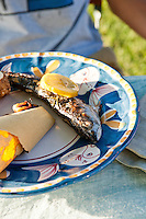 Roasted fish with lemon on a plate