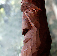 New Caledonia Glasshouse (formerly The Mexican Hothouse), 1830s, Charles Rohault de Fleury, Jardin des Plantes, Museum National d'Histoire Naturelle, Paris, France. Detail of carved wooden mask from New Caledonia.