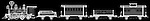 X-ray image of a toy train (white on black) by Jim Wehtje, specialist in x-ray art and design images.