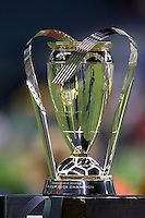 MLS Cup trophy, Real Salt Lake defeats the Los Angles Galaxy 5-4 on penalty kicks to win the 2009 MLS Cup at Qwest Field, Sunday, Nov. 22, 2009.