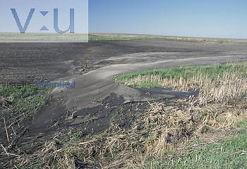 Water erosion in a Soybean field, North America.