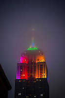 The Empire State Building displays a rainbow of colors in honor of Gay Pride in New York on Sunday, June 30, 2013. Recently a bidding war has erupted for the iconic landmark building which includes real estate mogul Joe Sitt, part-owner of the Woolworth Building Rubin Schron and an unidentified Middle-Eastern investor.  (© Richard B. Levine)
