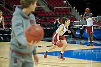 FRESNO, CA--Freshman Erica Payne works her ball handling skills during practice at the Save Mart Center for the 2012 NCAA Championships.