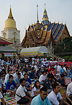 Nakorn Chai Sri, Thailand, March 3, 2012, Wat Bang Phra - thousands of devotees fill the temple grounds for the annual Wai Khru (honor the teacher) ceremony.