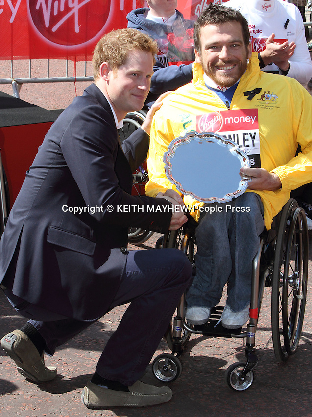 London Marathon 2013 - Prince Harry at the Presentations at the finish of the race, London  - April 21st 2013..Photo by Keith Mayhew