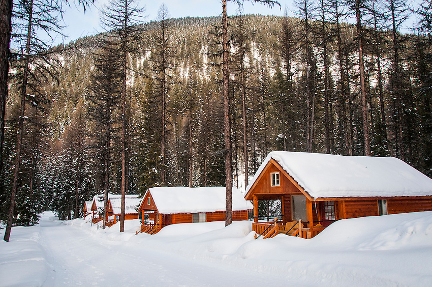 Scenes from Izaak Walton Hotel and resort near Glacier National Park in Montana, USA in winter.