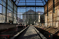 New Caledonia Glasshouse (formerly The Mexican Hothouse), 1830s, Charles Rohault de Fleury, Jardin des Plantes, Museum National d'Histoire Naturelle, Paris, France. Low angle view of the construction of a passage way through the glasshouse during renovation work. The New Caledonia Glasshouse, or Hothouse, was the first French glass and iron building.