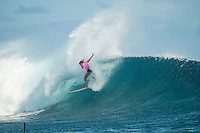 Namotu Island Resort, Nadi, Fiji (Monday, May 30 2016): Courtney Conlogue (USA) - The  2016 Fiji Women's Pro commenced at 9 am this morning in clean 3'-4' building swell at Cloudbreak. Rounds 2,3and 4  was completed as the swell built through the afternoon. There were strong Trade winds in the afternoon as well making the waves a bit choppy. Photo: joliphotos.com