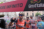 Vincenzo Nibali (ITA) Bahrain-Merida at sign on before the start of Stage 7 of the 100th edition of the Giro d'Italia 2017, running 224km from Castrovillari to Alberobello, Italy. 12th May 2017.<br /> Picture: LaPresse/Gian Mattia D'Alberto | Cyclefile<br /> <br /> <br /> All photos usage must carry mandatory copyright credit (&copy; Cyclefile | LaPresse/Gian Mattia D'Alberto)