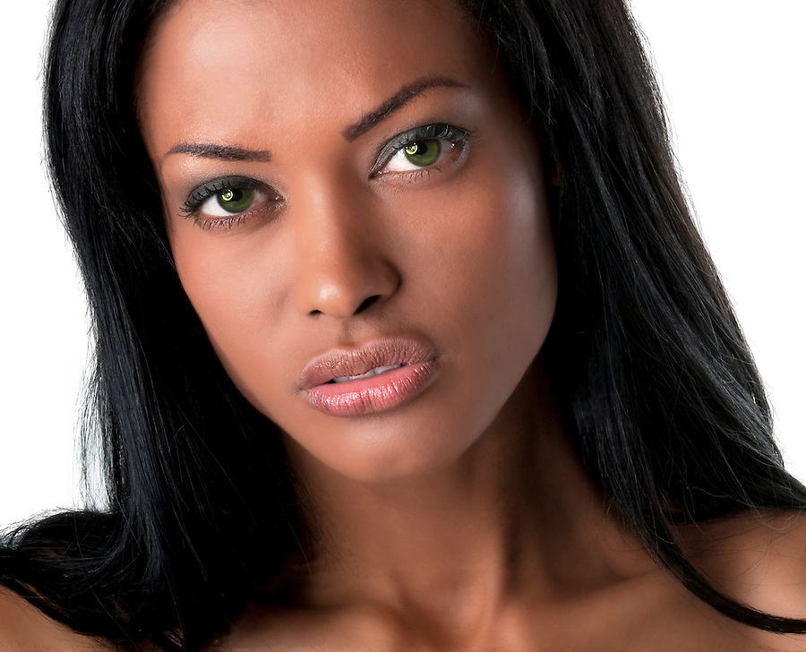 Portrait of young model looking very intense.