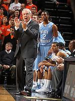 Jan. 8, 2011; Charlottesville, VA, USA;  North Carolina Tar Heels head coach Roy Williams Reacts to a call during the game at the John Paul Jones Arena. North Carolina won 62-56. Mandatory Credit: Andrew Shurtleff