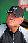 15 August 2008: Colorado Rockies' Manager Clint Hurdle sits in the dugout awaiting his team to start batting practice prior to a game against the Washington Nationals at Nationals Park in Washington, DC.  The Rockies edged out the Nationals 4-3, handing the last place Nationals their 8th consecutive loss. ..Mandatory Photo Credit: Ed Wolfstein Photo
