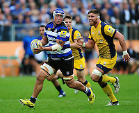 Leroy Houston of Bath Rugby looks to pass the ball. Aviva Premiership match, between Bath Rugby and Worcester Warriors on September 17, 2016 at the Recreation Ground in Bath, England. Photo by: Patrick Khachfe / Onside Images