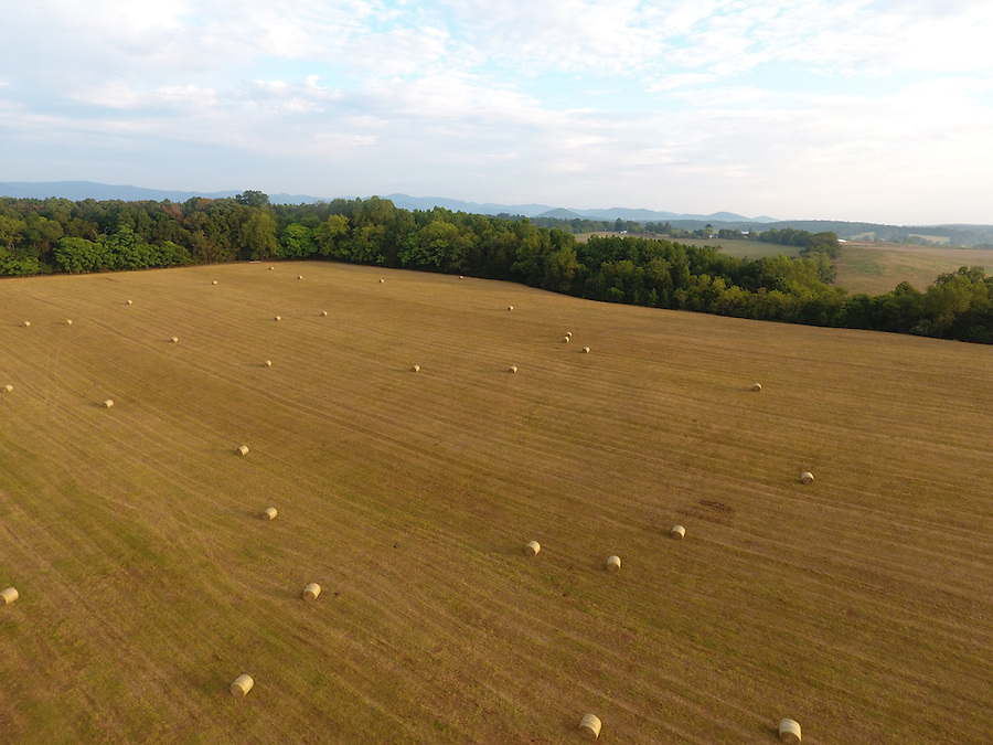 Scenic view of a country farm field from above Greene County, Va.  Photo/Andrew Shurtleff
