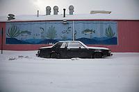 Detroit: paesaggio urbano. Un'automobile parcheggiata in mezzo alla neve. Dietro un murales raffigurante un acquario con i pesci.