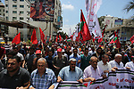 Palestinian demonstrators take part in a protest in support of Palestinian prisoners held in Israeli jails and against the visit of U.S. President Donald Trump, in Gaza City May 23, 2017. Photo by Ashraf Amra