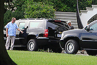 WASHINGTON DC - SEPTEMBER 11: United States President Barack Obama and daughter Maila  get into the presidential limousine to go on a hike at Great Falls Park in Virginia.<br /> Credit: Dennis Brack / Pool via CNP/MediaPunch