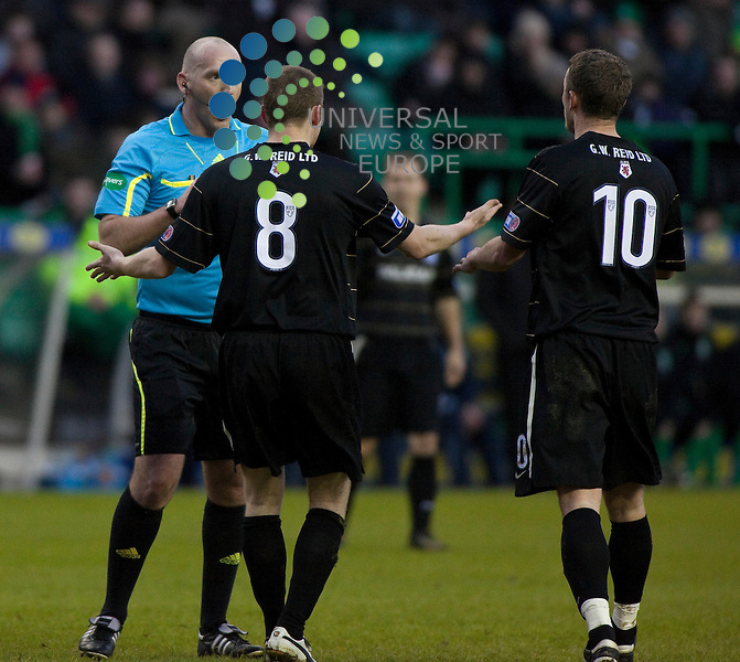 Hibernian v Ayr United  Scottish Cup 4th round ..Scott McLaughlin and Mark Roberts with Referee Bobby Madden during  this weekends  Scottish Cup 4th round match between Hibernian v Ayr United. At Easter Road Stadium, Edinburgh today...Picture: Alan Rennie/Universal News and Sport (Scotland).8th January 2011.