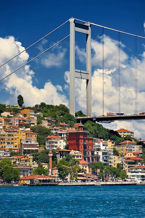 The Fatih Sultan Mehmet Bridge, also known as the Second Bosphorus Bridge Istanbul Turkey