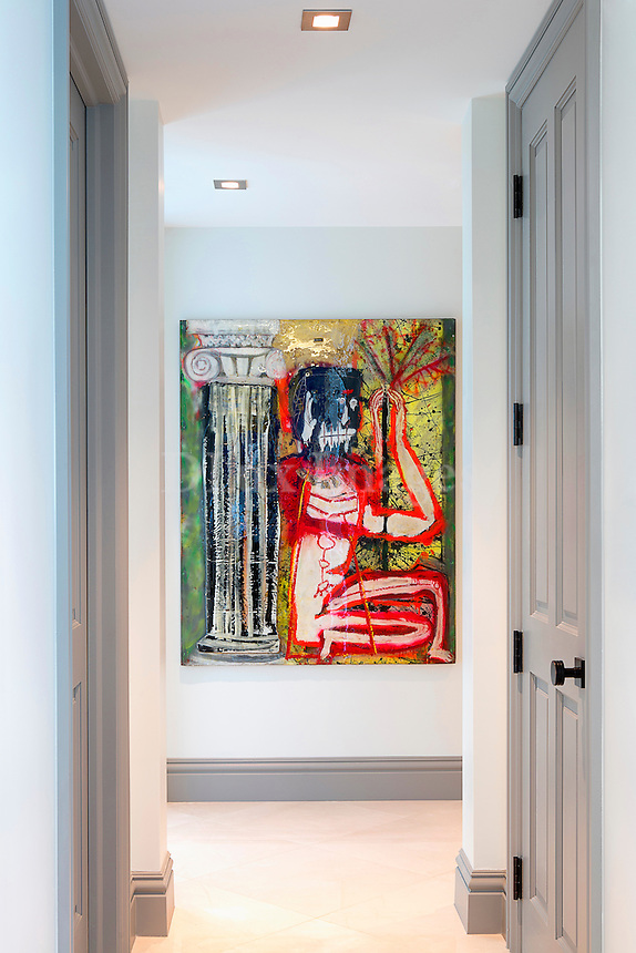 Colorful painting in entryway
