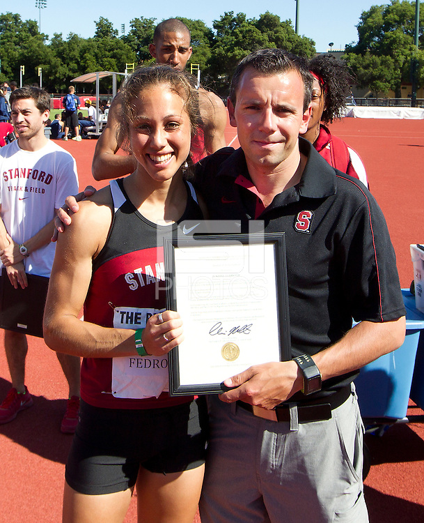Stanford, CA., April 20, 2013,--Stanford's honors Justine Fedronic  at the 119 Big Meet at Cobb Track and Angell Field at Stanford University.
