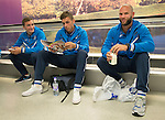FC Luzern v St Johnstone...16.07.14  Europa League 2nd Round Qualifier<br /> Alan Mannus pictured at Edinburgh Airport this morning waiting for the flight to Basel. He is pictured alongside Alex Kitchen and Chris Kane.<br /> Picture by Graeme Hart.<br /> Copyright Perthshire Picture Agency<br /> Tel: 01738 623350  Mobile: 07990 594431