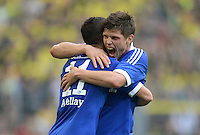 Fussball 1. Bundesliga :  Saison   2012/2013   8. Spieltag  20.10.2012 Borussia Dortmund - FC Schalke 04 Jubel nach dem Tor zum 0:1 Ibrahim Afellay und Klaas Jan Huntelaar (v. li., FC Schalke 04)