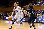 02 January 2014: Duke's Haley Peters (33) and ODU's Galaisha Goodhope (5). The Duke University Blue Devils played the Old Dominion University Lady Monarchs in an NCAA Division I women's basketball game at Cameron Indoor Stadium in Durham, North Carolina. Duke won the game 87-63.