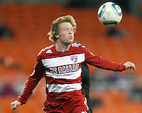 Dax McCarty #13 of F.C. Dallas heads the ball during a US Open Cup match against D.C. United on April 28 2010, at RFK Stadium in Washington D.C. United won 4-2.