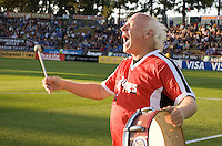 Krazy George performs on the field before the game between Earthquakes and Timbers at Buck Shaw Stadium in Santa Clara, California on August 6th, 2011.   San Jose Earthquakes and Portland Timbers tied 1-1.