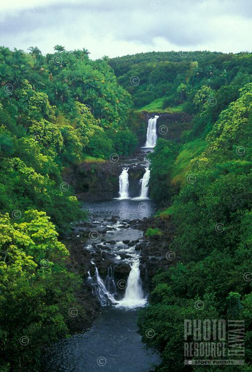 Scenic Umauma Falls.  Located a short drive north of Hilo along the Hamakua coast of the Big Isle of Hawaii. Access to the falls is thru the World Botanical Gardens.