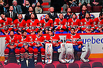 22 November 2008: Members of the Montreal Canadiens look up at the video scoreboard watching highlights from the career of goaltender Patrick Roy at the Bell Centre in Montreal, Quebec, Canada. The Canadiens, celebrating their 100th season, honored Roy by retiring his jersey number in an emotional pre-game event. Players wore jersey number 33 during the ceremonies and warm ups. ****Editorial Use Only****..Mandatory Photo Credit: Ed Wolfstein Photo *** Editorial Sales through Icon Sports Media *** www.iconsportsmedia.com